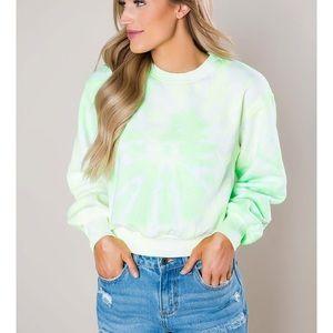 Tops - Lime Tie Dye Cropped Sweatshirt